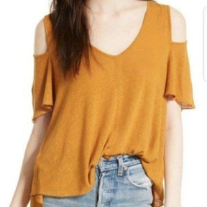 Free People Bittersweet Gold Cold Shoulder Top